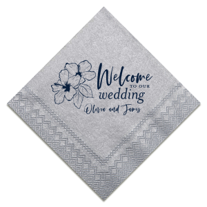 Custom Galvanized Silver Cocktail Napkin with Matte Navy Foil has a Hibiscus graphic and is good for use in Floral themed parties and can be personalized to match your party's exact theme and tempo.