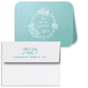 ForYourParty's chic Stardream Chambray Classic Note Card with Envelope with Matte White Foil has Floral Laurel Wreath graphics and is good for use in Floral, Wedding themed parties and will make your guests swoon. Personalize your party's theme today.
