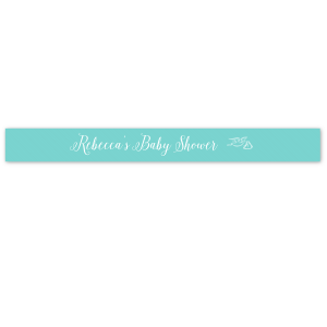 "Our personalized Tiffany Blue 5/8"" Satin Ribbon with Matte White Foil Color has a Newborn graphic and is good for use in Baby Shower themed parties and will add that special attention to detail that cannot be overlooked."