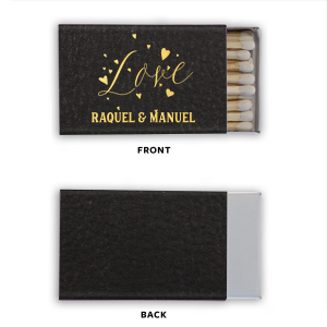 Our custom Black Classic Leather Matchbox with Shiny Copper Foil Color has a Love Hearts graphic and is good for use in Wedding and Anniversary themed parties and will add that special attention to detail that cannot be overlooked.