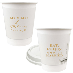 Our personalized Gold Ink 12 oz Paper Coffee Cups with Lid with Gold Ink Cup Ink Colors will impress guests like no other. Make this party unforgettable.