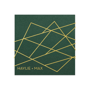 Our custom Hunter Green Cocktail Napkins with Bleed with Shiny 18 Kt Gold Foil has a Geometric Bleed graphic and is good for use in Full Bleed, Frames, Trendy themed parties and will add that special attention to detail that cannot be overlooked.