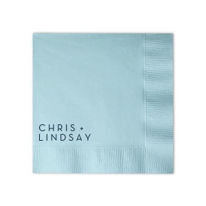 Our custom designed Modern Names cocktail napkins will look fabulous with your personalization. Your guests will agree as they sip their cocktails with your trendy wedding cocktail napkins in hand. Here at ForYourParty, you can easily align your custom napkin colors and design with your wedding theme!