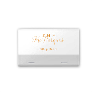 Personalize this shimmery matchbook with the happy couple's last name and wedding date for both a fun complement to your sparkler send off and a memorable custom wedding favor.