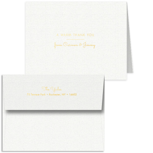 Custom Linen White Classic Note Card with Envelope with Shiny 18 Kt Gold Foil has a Warm Thanks graphic and is good for use in Wedding, Birthday, Bar/Bah Mitzvah, or anytime you want to express some gratitude!