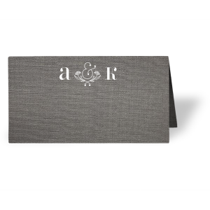 Our beautiful custom Linen Slate Classic Place Card with Matte White Foil has a Accent Ampersand 2 graphic and is good for use in Accents, Words, Wedding themed parties and can be personalized to match your party's exact theme and tempo.