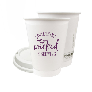 ForYourParty's elegant Matte Eggplant Ink 8 oz Paper Coffee Cup with Lid with Matte Eggplant Ink Cup Ink Colors has a Bats graphic and is good for use in Halloween, Holiday, Animals themed parties and can be customized to complement every last detail of your party.