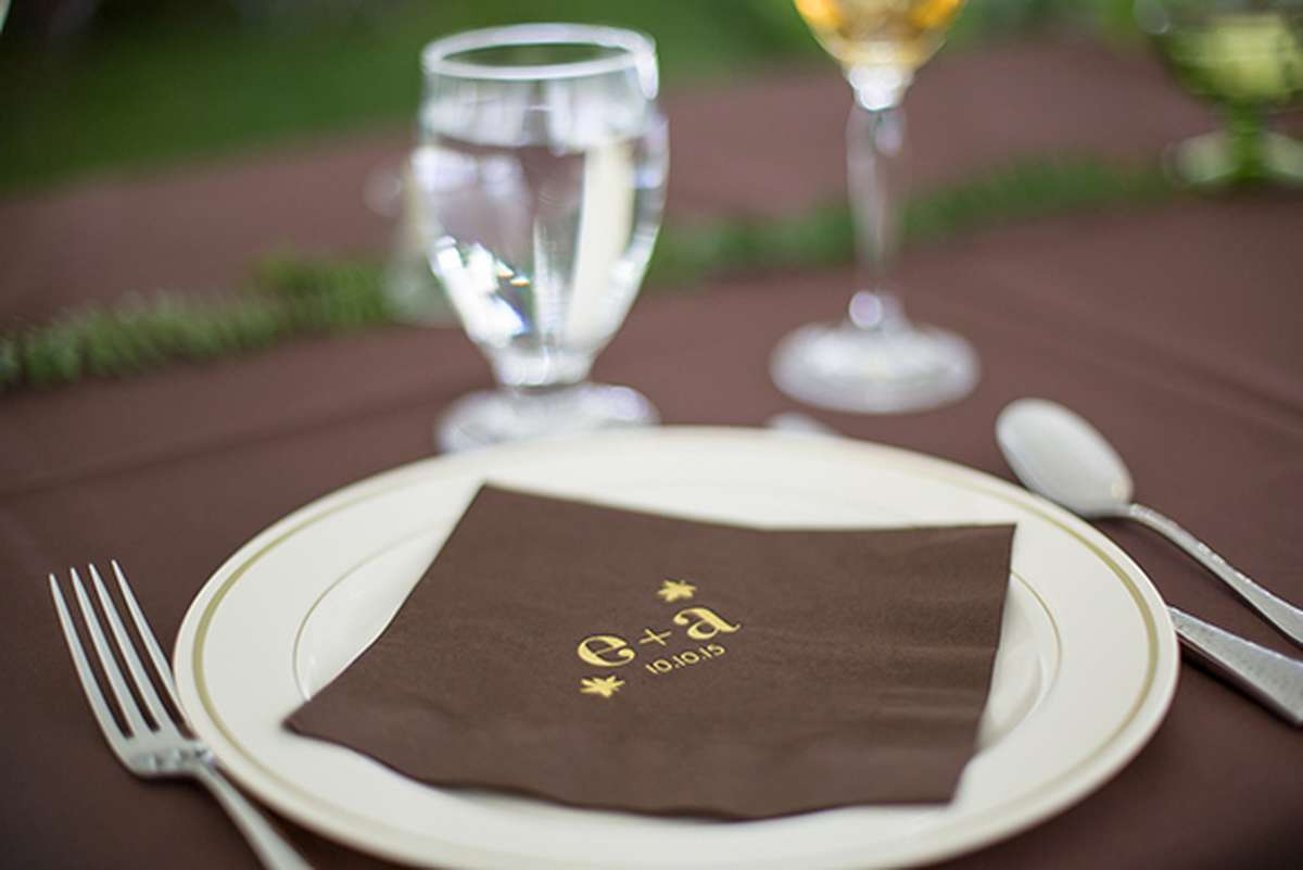 Foil Stamped Personalized Wedding Napkin