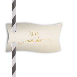 The ever-popular Stardream Crystal White Double Point Straw Tag with Shiny 18 Kt Gold Foil Color has a We Do graphic and is good for use in Words, Wedding themed parties and couldn't be more perfect. It's time to show off your impeccable taste.