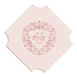 Our beautiful custom Eggshell Round Coaster with Shiny Rose Quartz Foil Color has a Letter Frame Invitation graphic and is good for use in Lovely Press themed parties and will make your guests swoon. Personalize your party's theme today.