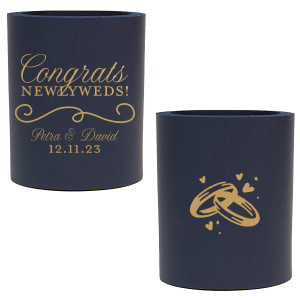 The ever-popular Royal Blue Flat Can Cooler with Gold Ink Cup Ink Colors has a Fancy Flourish 2 graphic and a Wedding Rings graphic and is good for use in Wedding, Anniversary, Love themed parties and can't be beat. Showcase your style in every detail of your party's theme!