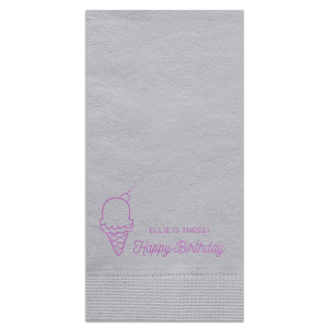 Custom Aqua Cocktail Napkin with Satin Plum Foil Color has a Kid Cone graphic and is good for use in Food, Kid Birthday themed parties and will add that special attention to detail that cannot be overlooked.
