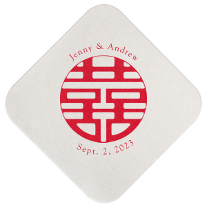 "Double Happiness - White - Square Coasters - Personalized - Set of 75 - 4 x 4"""" by ForYourParty.com"