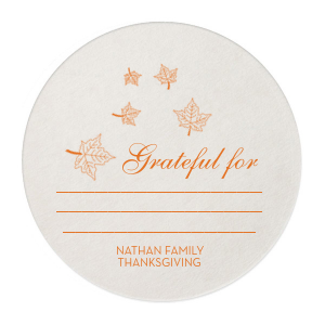Custom Eggshell Round Coaster with Matte Tangerine Foil has a Fall Wedding Accommodation graphic and is good for use in Lovely Press, Wedding, Thanksgiving themed parties and will look fabulous with your unique touch. Your guests will agree!
