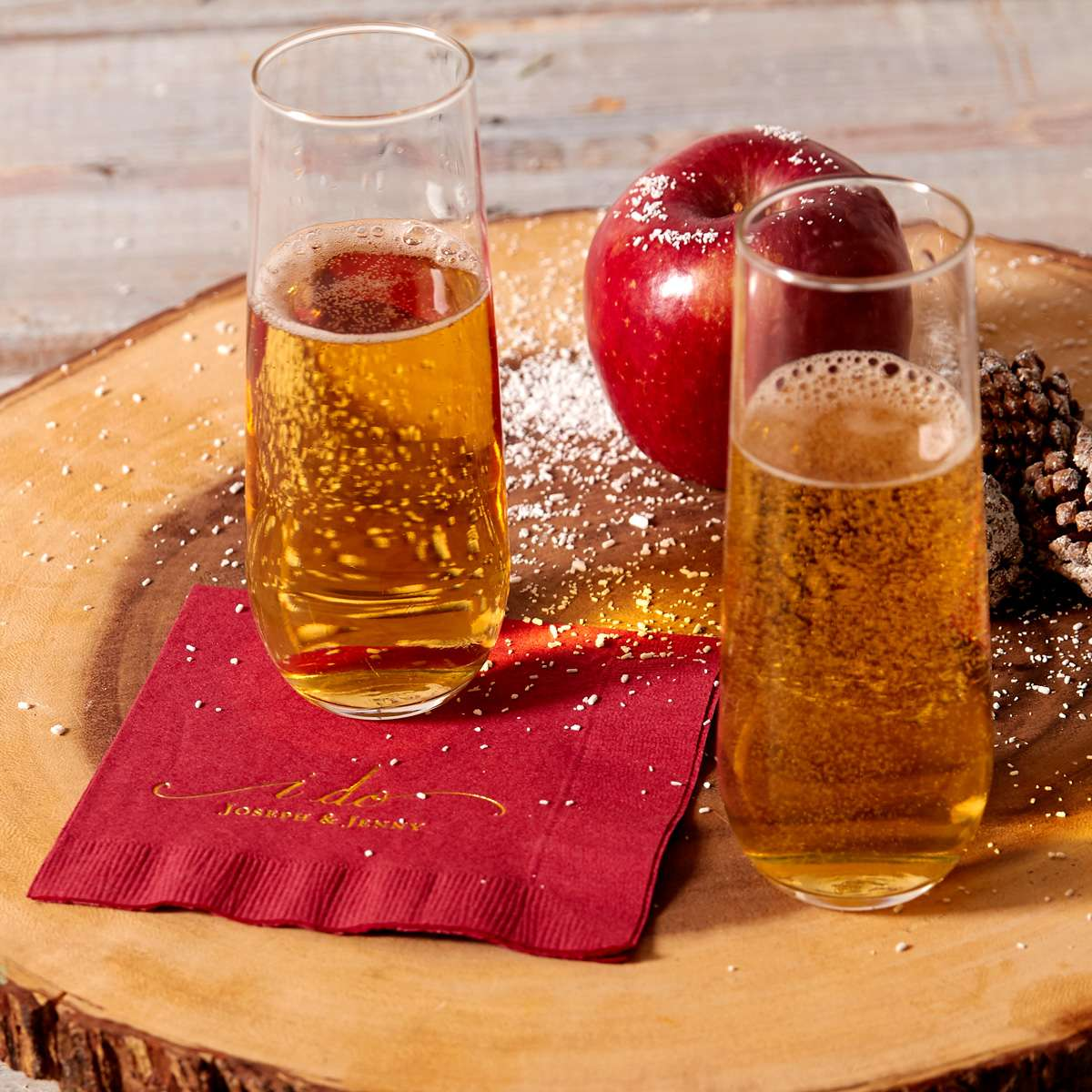champagne apple cider with personalized cocktail napkin
