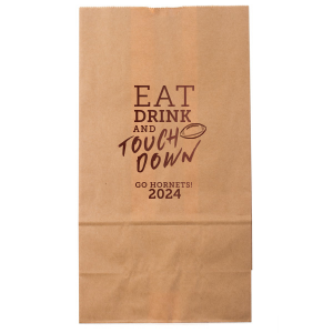 Our custom Kraft Brown Goodie Bag with Shiny Merlot Foil has a Football graphic and is good for use in Sports themed parties and can be personalized to match your party's exact theme and tempo.