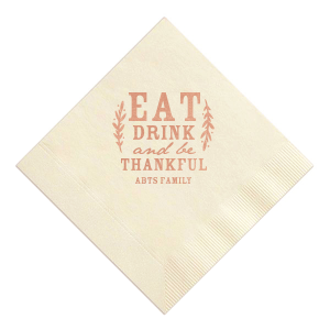 Our personalized White 4-ply Cocktail Napkin with Shiny Rose Gold Foil will give your party the personalized touch every host desires.