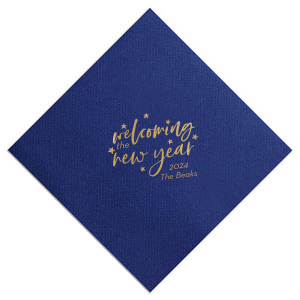 The ever-popular Navy Dinner Napkin with Satin 18 Kt. Gold Foil will give your party the personalized touch every host desires.