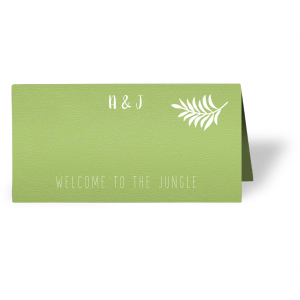 ForYourParty's chic Poptone Kiwi Euro Place Card with Matte White Foil has a Leaves graphic and is good for use in Floral themed parties and will add that special attention to detail that cannot be overlooked.