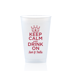 ForYourParty's personalized Red 16 oz Frost Flex Color Cup with Matte White Ink Cup Ink Colors has a Crown 3 graphic and is good for use in Kid Birthday, Princess, Birthday themed parties and will give your party the personalized touch every host desires.