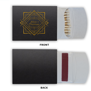 ForYourParty's chic Black 30 Strike Matchbook with Shiny 18 Kt Gold Foil has a Deco Frame graphic and is good for use in Frames, Wedding, Anniversary themed parties and are a must-have for your next event—whatever the celebration!