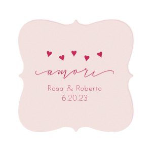 Personalized Blush with Kraft back Deco Coaster with Matte Fuchsia Foil Color has a Amore graphic and is good for use in Words themed parties and will look fabulous with your unique touch. Your guests will agree!