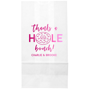 Our personalized White Party Bag with Shiny Fuchsia Foil has a Donut graphic and is good for use in Food, Birthday themed parties and will make your guests swoon. Personalize your party's theme today.