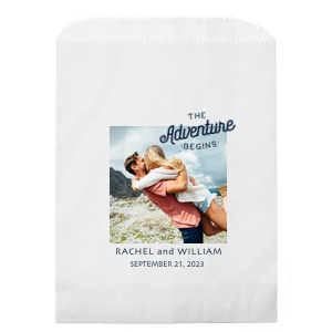 Our custom White Photo/Full Color Party Bag with Matte Navy Ink Digital Print Colors has a The Adventure Begins graphic and is good for use in Words, Wedding, Anniversary themed parties and can't be beat. Showcase your style in every detail of your party's theme!