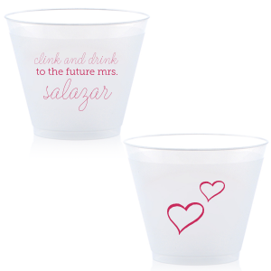 Customize Clink & Drink cups for a smashing addition to your bridal shower or bachelorette party! The Fuchsia print, hand lettered script and little hearts give a playful feminine touch your bride will love. Fun in the moment, they also make fabulous personalized party favors.