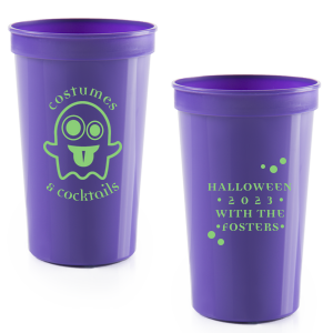 The ever-popular Purple 16 oz Stadium Cup with Matte Key Lime Ink Ink Color has a Ghost 2 graphic and is good for use in Halloween themed parties and can be customized to complement every last detail of your party.