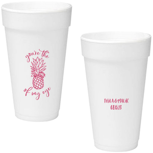 ForYourParty's personalized Matte Fuchsia Ink 12 oz Styrofoam Cup with Matte Fuchsia Ink Cup Ink Colors has a Pineapple Tiki graphic and is good for use in Food, Beach/Nautical themed parties and will look fabulous with your unique touch. Your guests will agree!