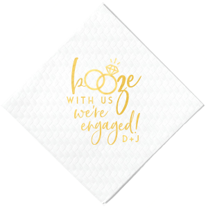 Our beautiful custom White Cocktail Napkin with Shiny 18 Kt Gold Foil has a Wedding Rings 2 graphic and is good for use in Wedding themed parties and can't be beat. Showcase your style in every detail of your party's theme!