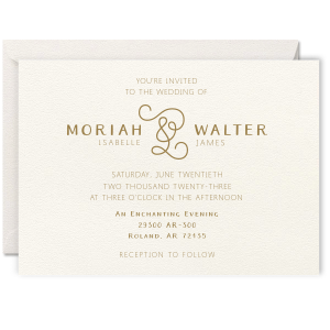 Our custom Lettra Pearl White 110lb Invitation with Black Ink Letterpress Inks will give your party the personalized touch every host desires.