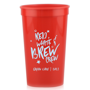 Our beautiful custom Red 16 oz Stadium Cup with Matte Sky Blue Ink Cup Ink Colors can be customized to complement every last detail of your party.