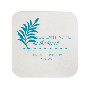 ForYourParty's personalized Kraft with Blush back Deco Coaster with Satin Teal / Peacock Foil has a Leaves graphic and is good for use in Floral themed parties and will impress guests like no other. Make this party unforgettable.