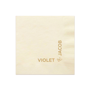 The ever-popular Ivory Cocktail Napkin with Satin 18 Kt. Gold Foil Color will look fabulous with your unique touch. Your guests will agree!