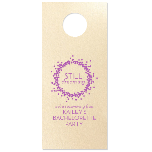 ForYourParty's chic Stardream Ivory Door Hanger with Satin Plum Foil Color has a Confetti Frame graphic and is good for use in Frames themed parties and will impress guests like no other. Make this party unforgettable.