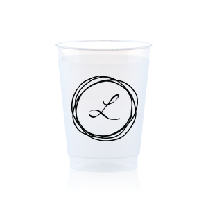 ForYourParty's personalized Matte Black Ink 10 oz Frost Flex Cup with Matte Black Ink Cup Ink Colors has a Circle Doodle Frame graphic and is good for use in Frames themed parties and couldn't be more perfect. It's time to show off your impeccable taste.