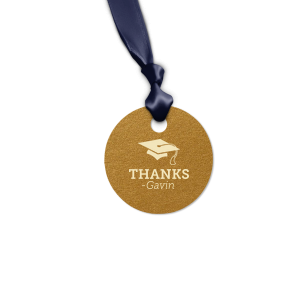 The ever-popular Stardream Copper Round Gift Tag with Matte Ivory Foil has a Cap graphic and is good for use in Graduation themed parties and can be customized to complement every last detail of your party.