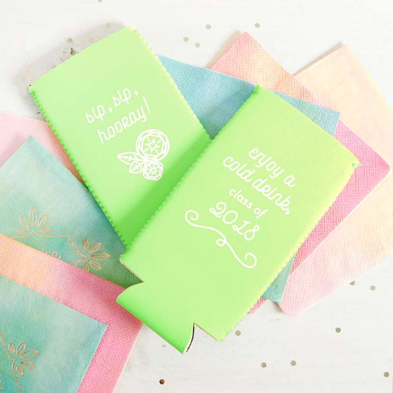 custom koozie party favors in bright colors