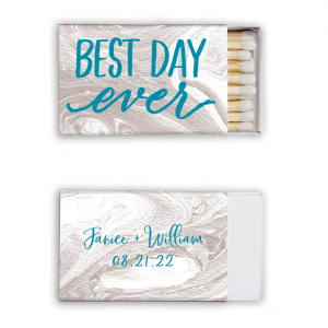 ForYourParty's chic Marble Blush Classic Matchbox with Shiny Turquoise Foil has a Best Day Ever graphic and is good for use in Words, Hearts, Wedding themed parties and couldn't be more perfect. It's time to show off your impeccable taste.