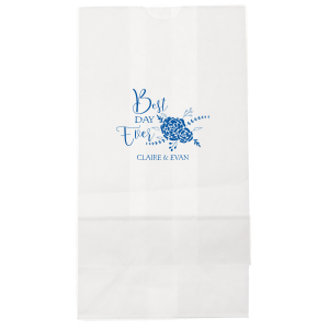 Our custom White Goodie Bag with Matte Royal Blue Foil Color has a Floral Vine RSVP graphic and is good for use in Lovely Press themed parties and can be customized to complement every last detail of your party.