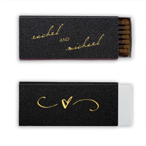 Personalized Stardream Black Candle Matchbox with Shiny 18 Kt Gold Foil will look fabulous with your unique touch. Your guests will agree!