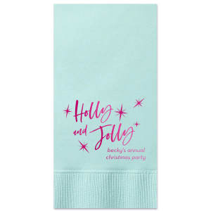 Our personalized Aqua Dinner Napkin with Shiny Fuchsia Foil has a Twilight graphic and Holly Jolly phrase and is good for use in Star, Winter, Holiday and Christmas themed parties and can be customized to complement every last detail of your party.