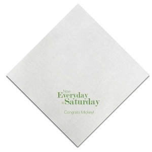 ForYourParty's elegant Watercolor Sunrise Cocktail Napkin with Matte Moss Green Foil can't be beat. Showcase your style in every detail of your party's theme!