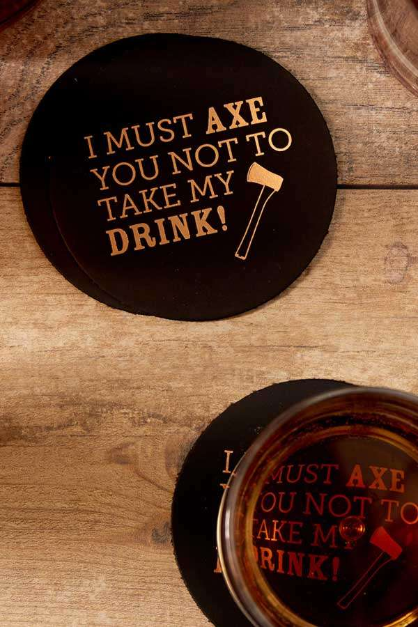 round leather wedding coaster