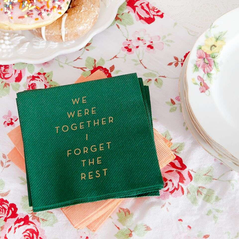 "Custom Designed ""We Were Together"" Quote Cocktail Napkins"