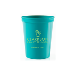 Our beautiful custom Teal 16 oz Stadium Cup with Matte Key Lime Ink Cup Ink Colors has a Two Palm Trees graphic and is good for use in Beach/Nautical themed parties and can be personalized to match your party's exact theme and tempo.