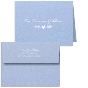 Custom Stardream Chambray Classic Note Card with Matte White Foil has a Leaf Heart Accent graphic and is good for use to spread your love through a written letter and can't be beat. Showcase your style in every detail of your party's theme!