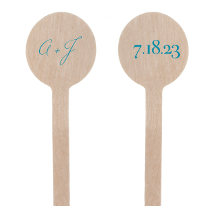 Dress up wedding drinks with your beach theme! Featuring our Palm Tree graphic and Teal foil, customize these stir sticks with your initials and date for a playful tropical bar accent.